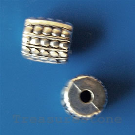 Bead, acrylic, silver-plated, 10x15mm. Pkg of 10.