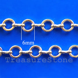 Chain, brass, 14K gold-finished, 6mm. Sold per pkg of 1 meter.