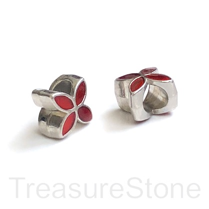 Bead, silver, red, 9mm flower 2, large hole:5mm. pack of 2