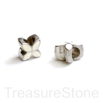 Bead, silver, white, 9mm flower 2, large hole:5mm. pack of 2