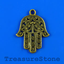 Charm/pendant, brass-plated, 22x26mm fatima hand. Pkg of 5.