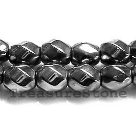 Bead, magnetic, 8x8mm 6-side twist. 16 inch strand