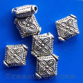 Bead, antiqued silver-finished, 10x2mm. Pkg of 22.