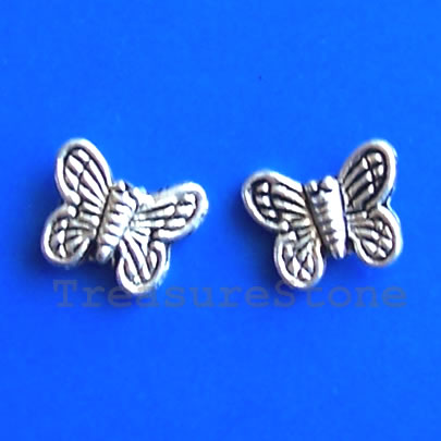 Bead, antiqued silver-finished,10mm butterfly. Pkg of 20.