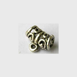 Bead, charm hanger,silver-finished,11x7mm tube w loop. Pkg of 20