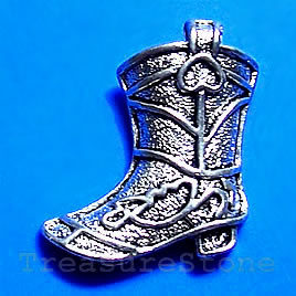 Pendant/charm, 21x24mm cowboy boot. Pkg of 4.