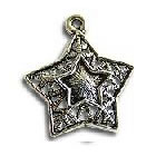 Pendant/charm, silver-finished, 21x23mm star. Pkg of 8.