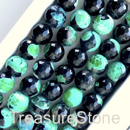 Bead, agate,dyed,black, green,10mm faceted round. 14.5inch,38pc