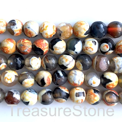 Bead, agate,dyed,black, orange,8mm faceted round. 14.5inch, 47pc