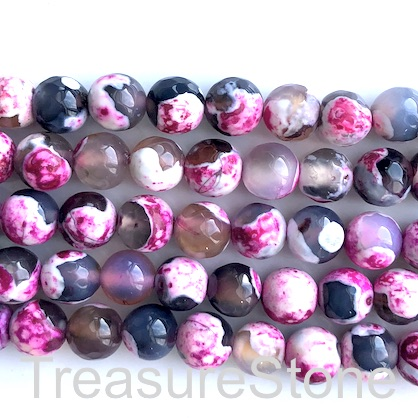 Bead, agate,dyed,black, pink,8mm faceted round. 14.5inch, 47pc