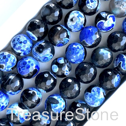 Bead, agate, dyed, royal blue, 10mm faceted round. 14.5inch,37pc