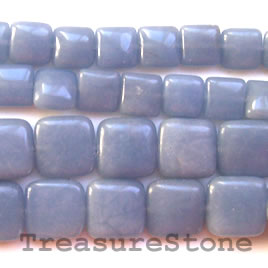 Bead, angelite, 10mm puffed square. 16-inch strand.