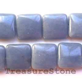 Bead, angelite, 18mm puffed square. 16-inch strand.