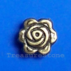 Bead, antiqued brass finished flower, 7.5mm. Pkg of 20.