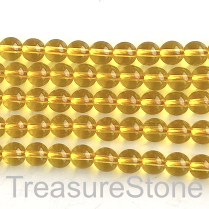Bead, glass, 8mm round, amber. 15.5 inch, 50pcs
