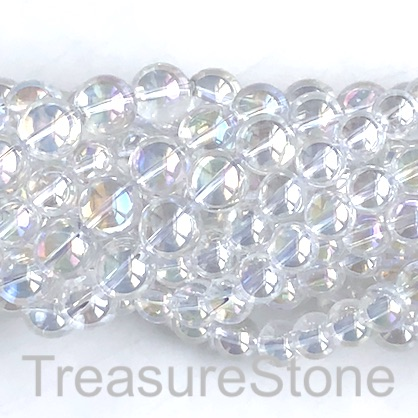 Bead, glass, 8mm round, Clear, AB coating. 15.5 inch, 50pcs