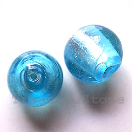 Bead, lampworked glass, light blue, 17mm round. Pkg of 5.