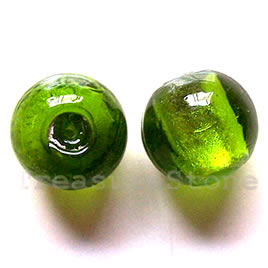 Bead, lampworked glass, green, 17mm round. Pkg of 5.