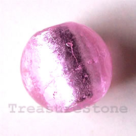 Bead, lampworked glass, pink, 17mm round. Pkg of 5.