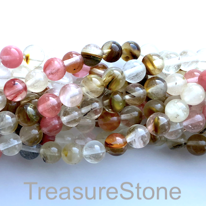 Bead, brown cherry quartz glass, 8mm round. 15.5-inch, 48pcs