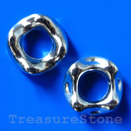 Bead, acrylic, silver-plated, 7x20mm. Pkg of 8.