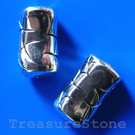 Bead, acrylic, silver-plated, 15x24mm. Pkg of 4.