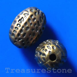 Bead, acrylic, brass-plated, 11x15mm. Pkg of 7.