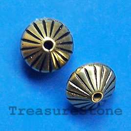 Bead, acrylic, gold-plated, 7x10mm. Pkg of 15.