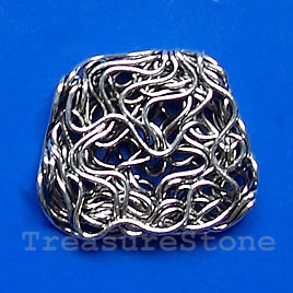 Bead, antiqued silver-finished, 21x18x3mm. Pkg of 6.