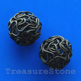 Bead, gunmetal-finished, 18mm round. Pkg of 5.