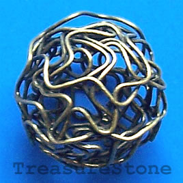 Bead, antiqued brass finished, 14mm. Pkg of 8.
