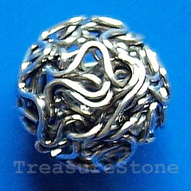 Bead, antiqued silver-finished, 14mm round. Pkg of 10.