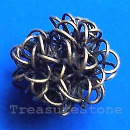 Bead, antiqued brass finished, 15mm. Pkg of 8.