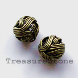 Bead, antiqued brass finished, wire wrapped, 10mm. Pkg of 10.