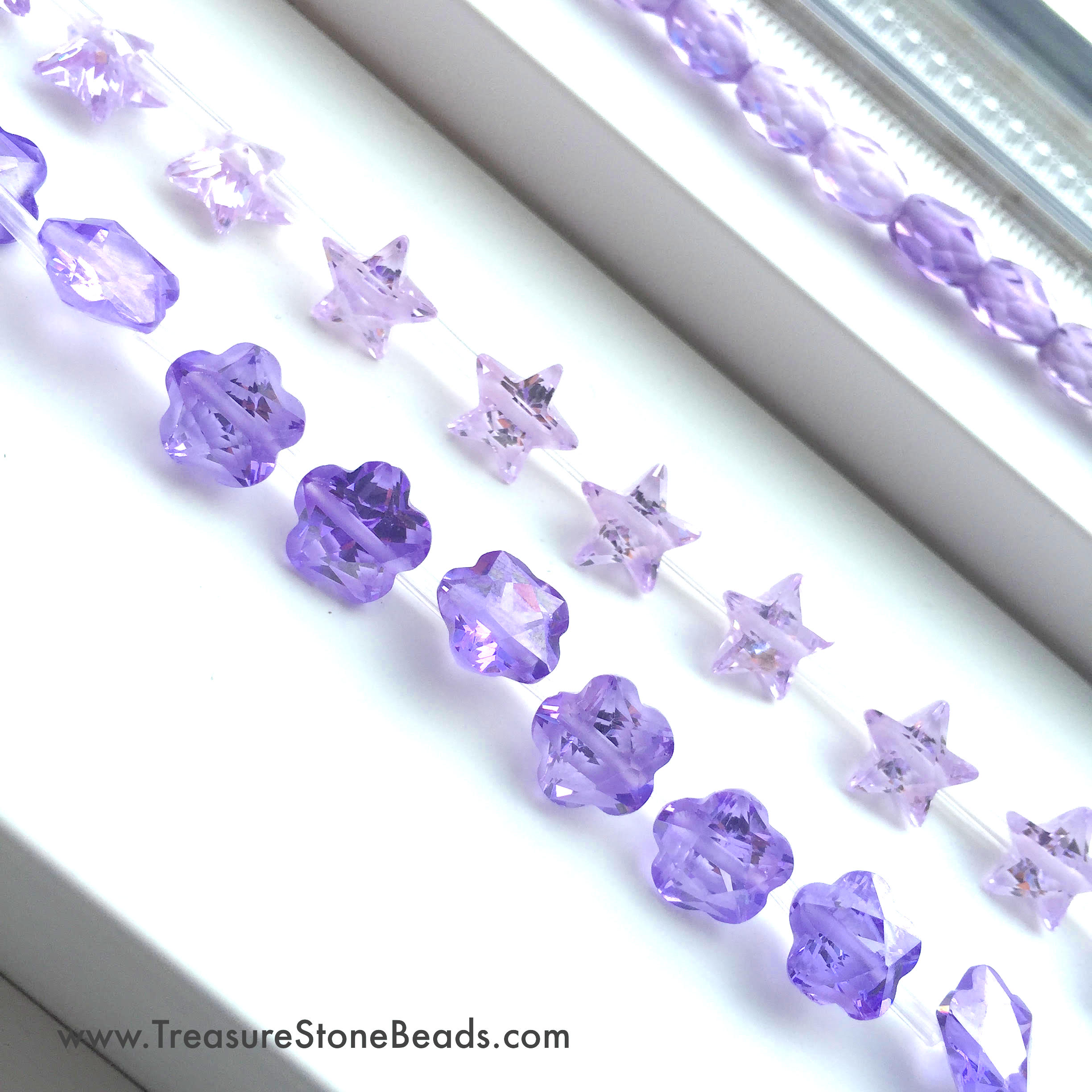 Cubic Zirconia Beads, 3 strands.