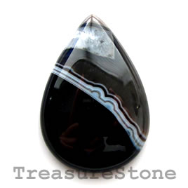 Cabochon, black sardonyx, 26x38mm teardrop. Sold individually.