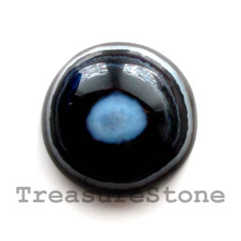 Cabochon, black sardonyx, 30mm round. Sold individually.