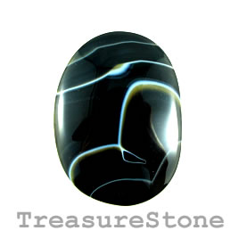 Cabochon, black sardonyx, 38x51mm. Sold individually.