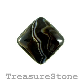 Cabochon, black sardonyx, 37mm. Sold individually.