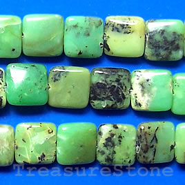 Bead, chrysoprase, 12mm flat square. 16 inch strand.