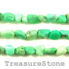 Bead, chrysoprase, about 11mm nuggets. 15.5 inch strand.
