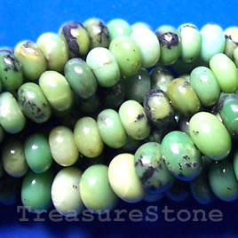 Bead, chrysoprase, 6x10mm rondelle. 16 inch strand.