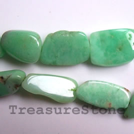 Bead, chrysoprase, tumbled nuggets about 20mm. 16 inch strand.