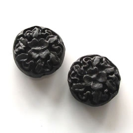 Bead, cinnabar, black, 17x7mm, carved. Pkg of 5.