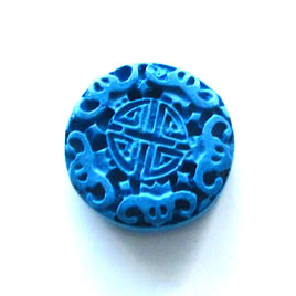 Bead, cinnabar, blue, 23x8mm, carved. Pkg of 2.