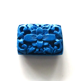 Bead, cinnabar, blue, 15x21x8mm, carved. Pkg of 2.