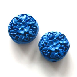 Bead, cinnabar, blue, 17x7mm, carved. Pkg of 4.