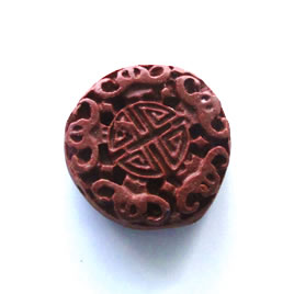 Bead, cinnabar, brown, 23x8mm, carved. Pkg of 2.