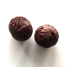 Bead, cinnabar, brown, 16mm, carved. Pkg of 4.