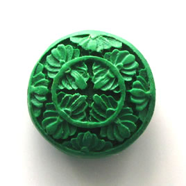 Bead, cinnabar, emerald, 30x12mm, carved. Sold individually.